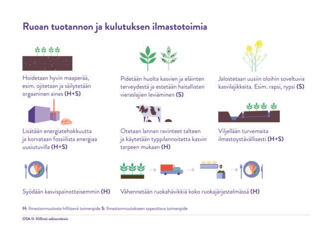 Ruoantuotannon ja kulutuksen ilmastotoimia: 1. Hoidetaan hyvin maaperää, esimerkiksi ojitetaan ja säilytetään orgaaninen aines. 2. Pidetään huolta kasvien ja eläinten terveydestä ja estetään haitallisten vieraslajien leviäminen. 3. Jalostetaan uusiin oloihin sovletuvia kasvilajikkeita, esimerkiksi rapsi ja rypsi. 4. Lisätään energiatehokkuutta ja korvataan fossiilista energiaa uusiutuvilla. 5. Otetaan lannan ravinteet talteen ja käytetään typpilannoitetta kasvin tarpeen mukaan. 6. Viljellään turvemaita ilmastoystävällisesti. 7. Syödään kasvispainotteisemmin. 8. Vähennetään ruokahävikkiä koko ruokajärjestelmässä.